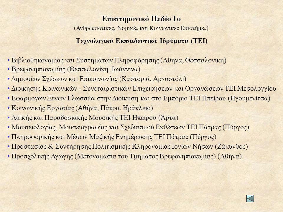 Τεχνολογικά Εκπαιδευτικά Ιδρύματα (ΤΕΙ) • Βιβλιοθηκονομίας και Συστημάτων Πληροφόρησης (Αθήνα, Θεσσαλονίκη) • Βρεφονηπιοκομίας (Θεσσαλονίκη, Ιωάννινα)