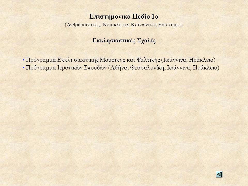 Εκκλησιαστικές Σχολές • Πρόγραμμα Εκκλησιαστικής Μουσικής και Ψαλτικής (Ιωάννινα, Ηράκλειο) • Πρόγραμμα Ιερατικών Σπουδών (Αθήνα, Θεσσαλονίκη, Ιωάννινα, Ηράκλειο) (Ανθρωπιστικές, Νομικές και Κοινωνικές Επιστήμες) Επιστημονικό Πεδίο 1ο