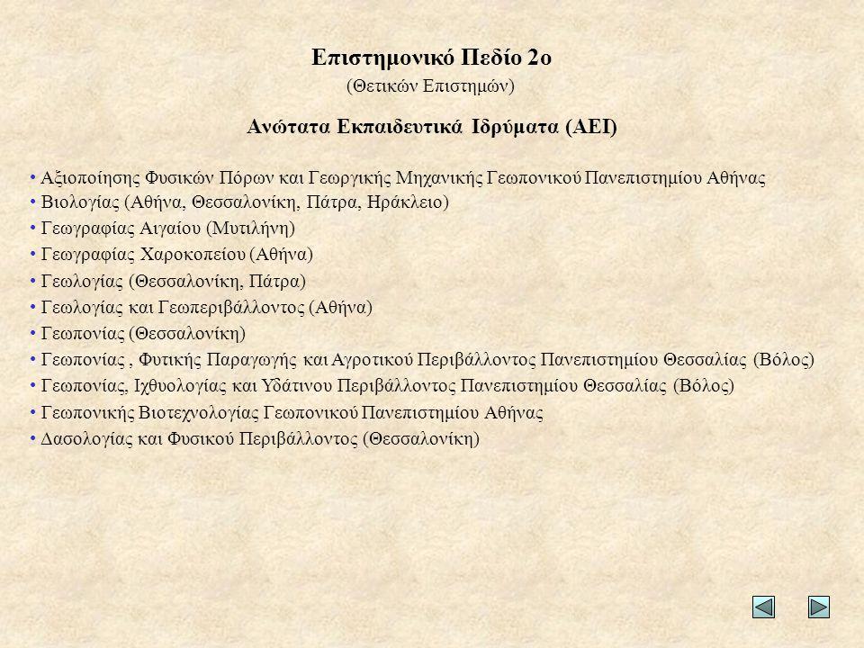 Ανώτατα Εκπαιδευτικά Ιδρύματα (ΑΕΙ) • Αξιοποίησης Φυσικών Πόρων και Γεωργικής Μηχανικής Γεωπονικού Πανεπιστημίου Αθήνας • Βιολογίας (Αθήνα, Θεσσαλονίκ
