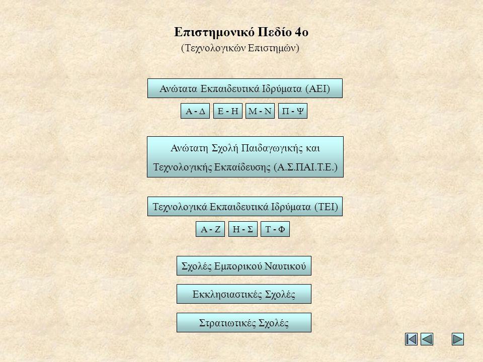 Επιστημονικό Πεδίο 4ο Ανώτατα Εκπαιδευτικά Ιδρύματα (ΑΕΙ) Τεχνολογικά Εκπαιδευτικά Ιδρύματα (ΤΕΙ) Στρατιωτικές Σχολές Εκκλησιαστικές Σχολές Α - ΔΕ - ΗΜ - ΝΠ - Ψ (Τεχνολογικών Επιστημών) Α - ΖΗ - ΣΤ - Φ Ανώτατη Σχολή Παιδαγωγικής και Τεχνολογικής Εκπαίδευσης (Α.Σ.ΠΑΙ.Τ.Ε.) Σχολές Εμπορικού Ναυτικού