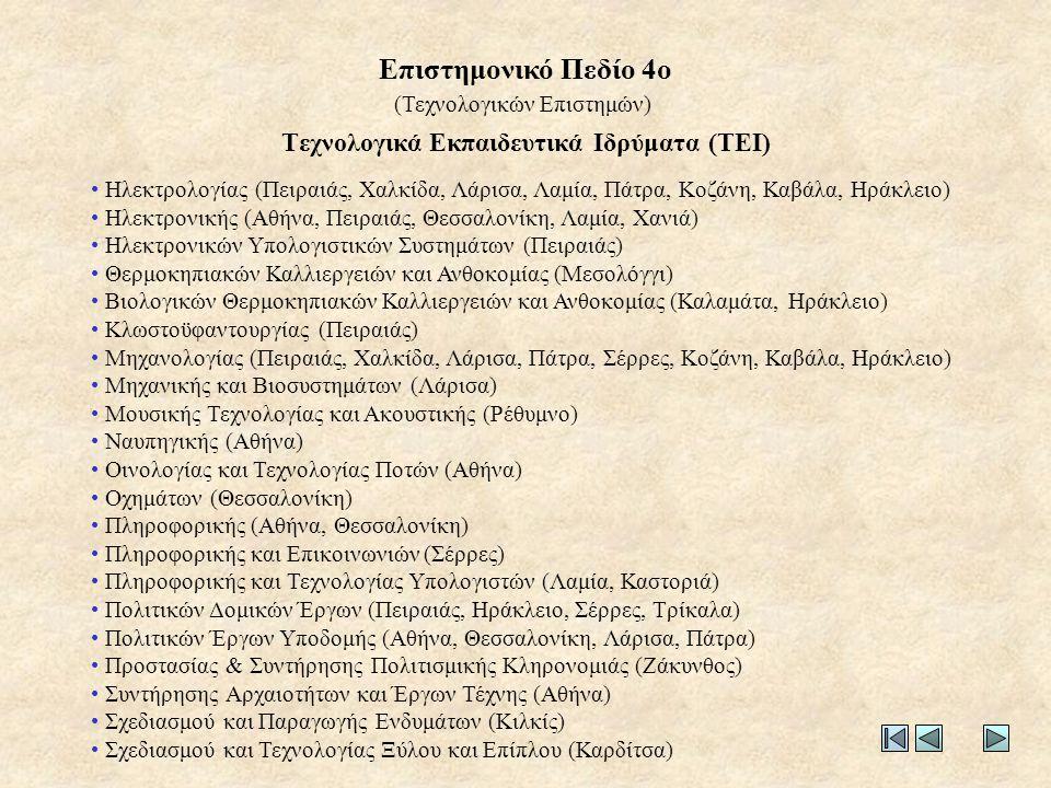 • Ηλεκτρολογίας (Πειραιάς, Χαλκίδα, Λάρισα, Λαμία, Πάτρα, Κοζάνη, Καβάλα, Ηράκλειο) • Ηλεκτρονικής (Αθήνα, Πειραιάς, Θεσσαλονίκη, Λαμία, Χανιά) • Ηλεκτρονικών Υπολογιστικών Συστημάτων (Πειραιάς) • Θερμοκηπιακών Καλλιεργειών και Ανθοκομίας (Μεσολόγγι) • Βιολογικών Θερμοκηπιακών Καλλιεργειών και Ανθοκομίας (Καλαμάτα, Ηράκλειο) • Κλωστοϋφαντουργίας (Πειραιάς) • Μηχανολογίας (Πειραιάς, Χαλκίδα, Λάρισα, Πάτρα, Σέρρες, Κοζάνη, Καβάλα, Ηράκλειο) • Μηχανικής και Βιοσυστημάτων (Λάρισα) • Μουσικής Τεχνολογίας και Ακουστικής (Ρέθυμνο) • Ναυπηγικής (Αθήνα) • Οινολογίας και Τεχνολογίας Ποτών (Αθήνα) • Οχημάτων (Θεσσαλονίκη) • Πληροφορικής (Αθήνα, Θεσσαλονίκη) • Πληροφορικής και Επικοινωνιών (Σέρρες) • Πληροφορικής και Τεχνολογίας Υπολογιστών (Λαμία, Καστοριά) • Πολιτικών Δομικών Έργων (Πειραιάς, Ηράκλειο, Σέρρες, Τρίκαλα) • Πολιτικών Έργων Υποδομής (Αθήνα, Θεσσαλονίκη, Λάρισα, Πάτρα) • Προστασίας & Συντήρησης Πολιτισμικής Κληρονομιάς (Ζάκυνθος) • Συντήρησης Αρχαιοτήτων και Έργων Τέχνης (Αθήνα) • Σχεδιασμού και Παραγωγής Ενδυμάτων (Κιλκίς) • Σχεδιασμού και Τεχνολογίας Ξύλου και Επίπλου (Καρδίτσα) Τεχνολογικά Εκπαιδευτικά Ιδρύματα (ΤΕΙ) (Τεχνολογικών Επιστημών) Επιστημονικό Πεδίο 4ο