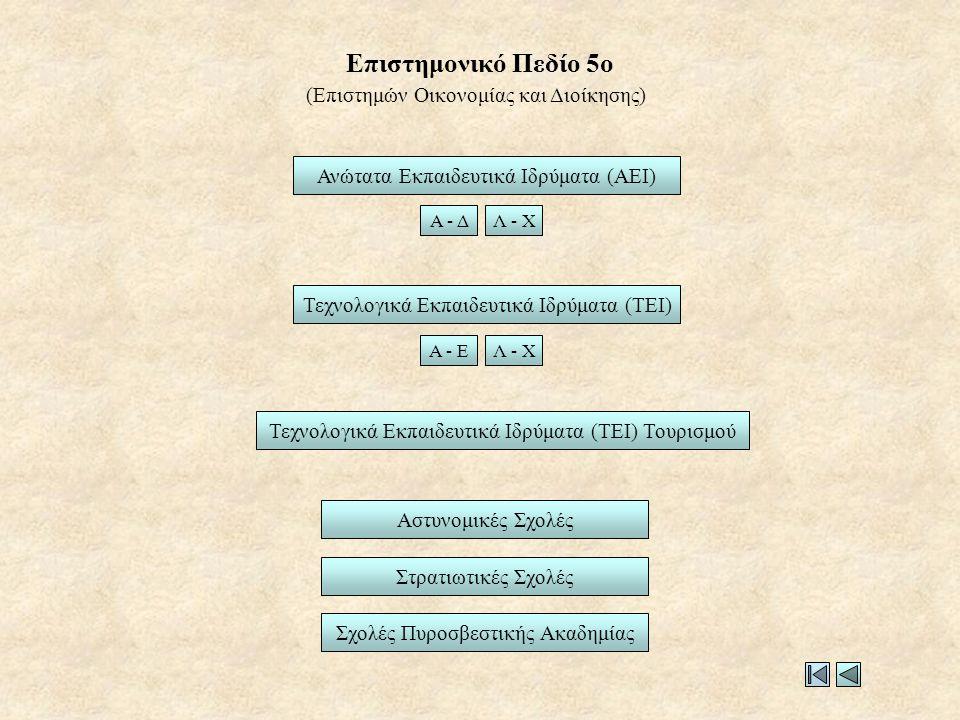 Επιστημονικό Πεδίο 5ο Ανώτατα Εκπαιδευτικά Ιδρύματα (ΑΕΙ) Τεχνολογικά Εκπαιδευτικά Ιδρύματα (ΤΕΙ) Στρατιωτικές Σχολές Αστυνομικές Σχολές Α - ΔΛ - Χ Α - ΕΛ - Χ Σχολές Πυροσβεστικής Ακαδημίας (Επιστημών Οικονομίας και Διοίκησης) Τεχνολογικά Εκπαιδευτικά Ιδρύματα (ΤΕΙ) Τουρισμού