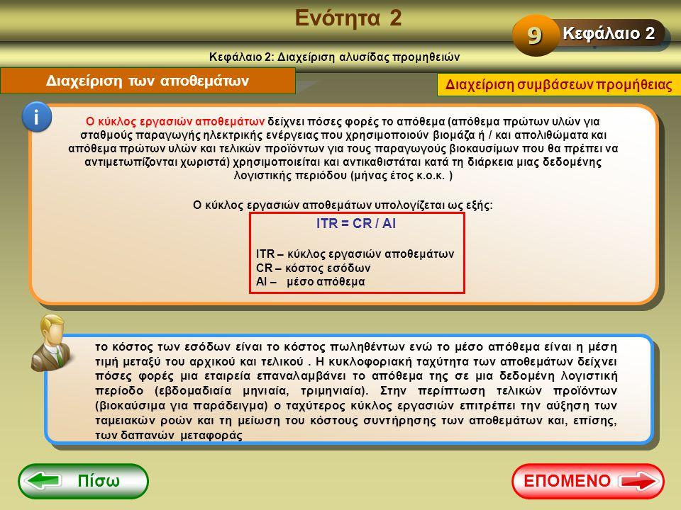 Ενότητα 2 Κεφάλαιο 2: Διαχείριση αλυσίδας προμηθειών Διαχείριση των αποθεμάτων i Ο κύκλος εργασιών αποθεμάτων δείχνει πόσες φορές το απόθεμα (απόθεμα