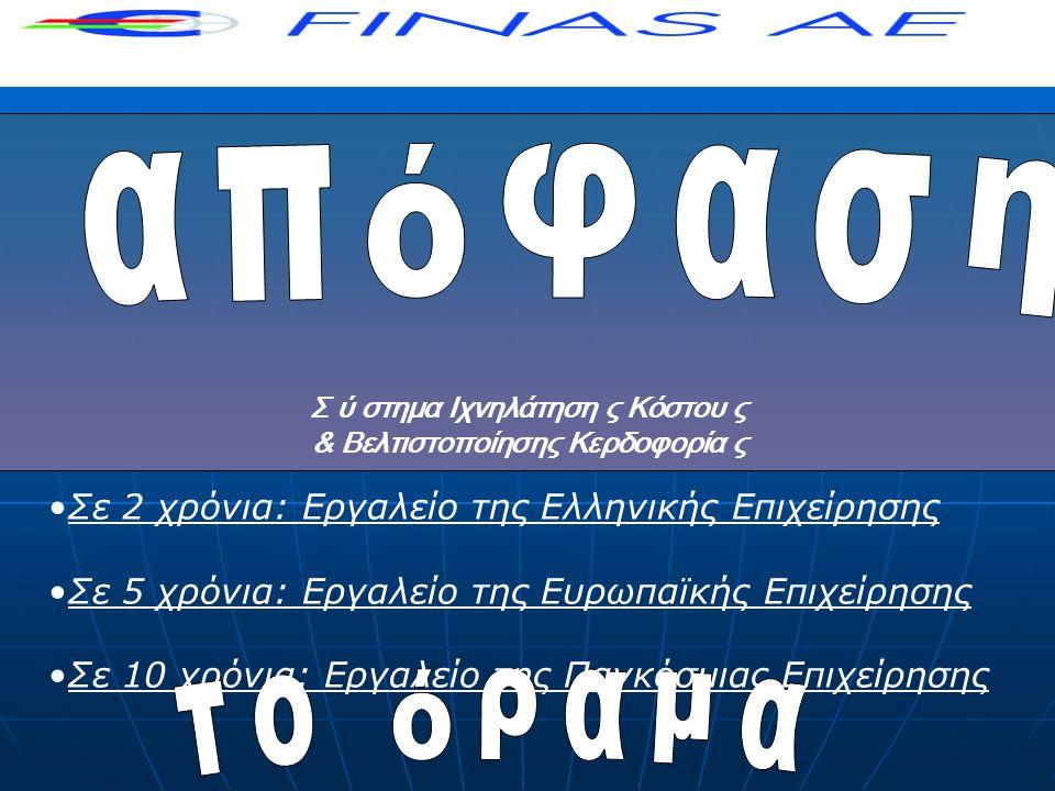 •Σε 2 χρόνια: Εργαλείο της Ελληνικής Επιχείρησης •Σε 5 χρόνια: Εργαλείο της Ευρωπαϊκής Επιχείρησης •Σε 10 χρόνια: Εργαλείο της Παγκόσμιας Επιχείρησης Σ ύ στημα Ιχνηλάτηση ς Κόστου ς & Βελτιστοποίησης Κερδοφορία ς