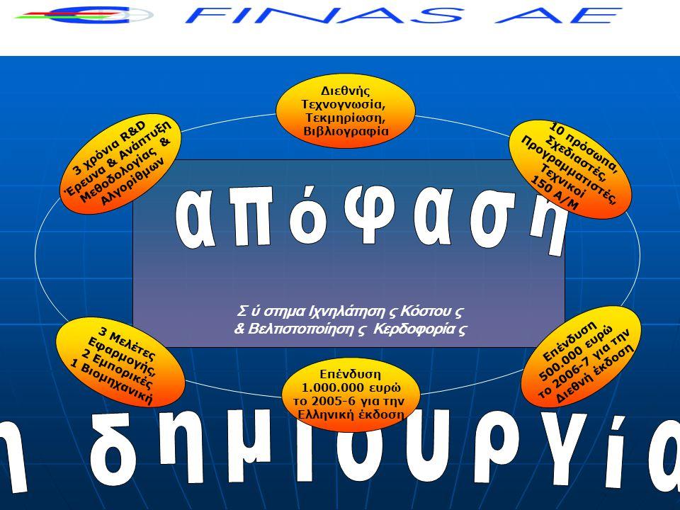 Σ ύ στημα Ιχνηλάτηση ς Κόστου ς & Βελτιστοποίηση ς Κερδοφορία ς 3 χρόνια R&D Έρευνα & Ανάπτυξη Μεθοδολογίας & Αλγορίθμων 10 πρόσωπα, Σχεδιαστές, Προγραμματιστές, Τεχνικοί 150 Α/Μ Διεθνής Τεχνογνωσία, Τεκμηρίωση, Βιβλιογραφία 3 Μελέτες Εφαρμογής, 2 Εμπορικές 1 Βιομηχανική Επένδυση 1.000.000 ευρώ το 2005-6 για την Ελληνική έκδοση Επένδυση 500.000 ευρώ το 2006-7 για την Διεθνή έκδοση