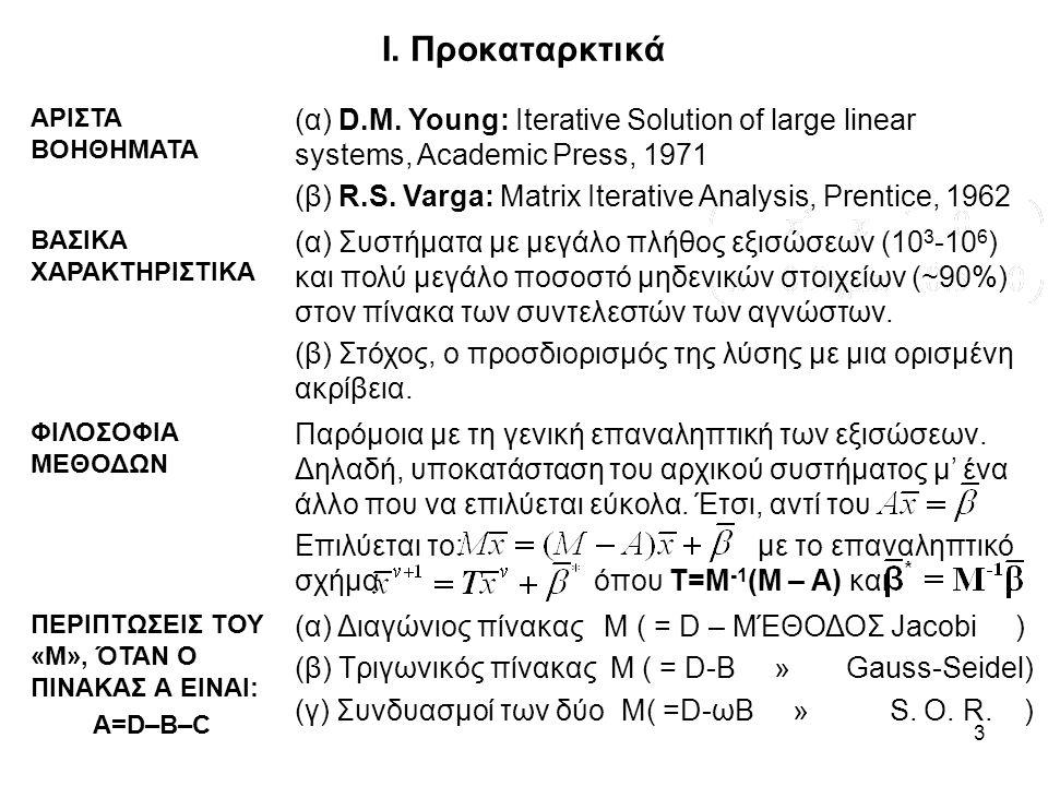 3 Ι. Προκαταρκτικά ΑΡΙΣΤΑ ΒΟΗΘΗΜΑΤΑ (α) D.M. Young: Iterative Solution of large linear systems, Academic Press, 1971 (β) R.S. Varga: Matrix Iterative