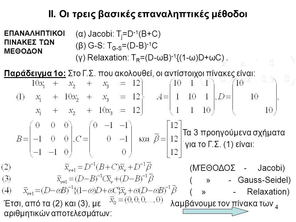 4 ΙΙ. Οι τρεις βασικές επαναληπτικές μέθοδοι ΕΠΑΝΑΛΗΠΤΙΚΟΙ ΠΙΝΑΚΕΣ ΤΩΝ ΜΕΘΟΔΟΝ (α) Jacobi: Τ j =D -1 (B+C) (β) G-S: Τ G-S =(D-B) -1 C (γ) Relaxation: