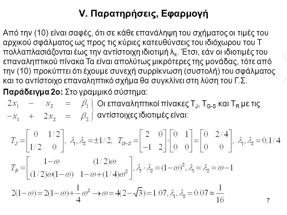7 V. Παρατηρήσεις, Εφαρμογή Από την (10) είναι σαφές, ότι σε κάθε επανάληψη του σχήματος οι τιμές του αρχικού σφάλματος ως προς τις κύριες κατευθύνσει