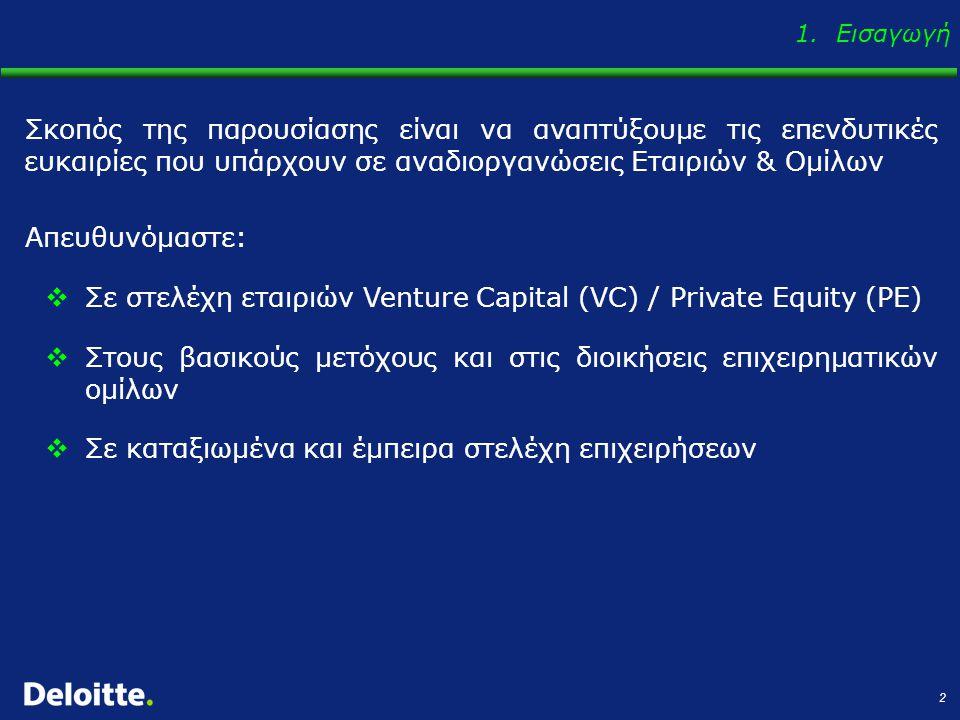2 Σκοπός της παρουσίασης είναι να αναπτύξουμε τις επενδυτικές ευκαιρίες που υπάρχουν σε αναδιοργανώσεις Εταιριών & Ομίλων Απευθυνόμαστε:  Σε στελέχη εταιριών Venture Capital (VC) / Private Equity (PE)  Στους βασικούς μετόχους και στις διοικήσεις επιχειρηματικών ομίλων  Σε καταξιωμένα και έμπειρα στελέχη επιχειρήσεων