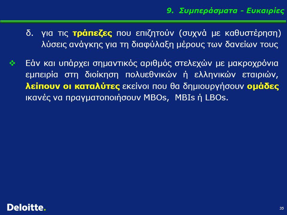 35 9. Συμπεράσματα - Ευκαιρίες  Εάν και υπάρχει σημαντικός αριθμός στελεχών με μακροχρόνια εμπειρία στη διοίκηση πολυεθνικών ή ελληνικών εταιριών, λε