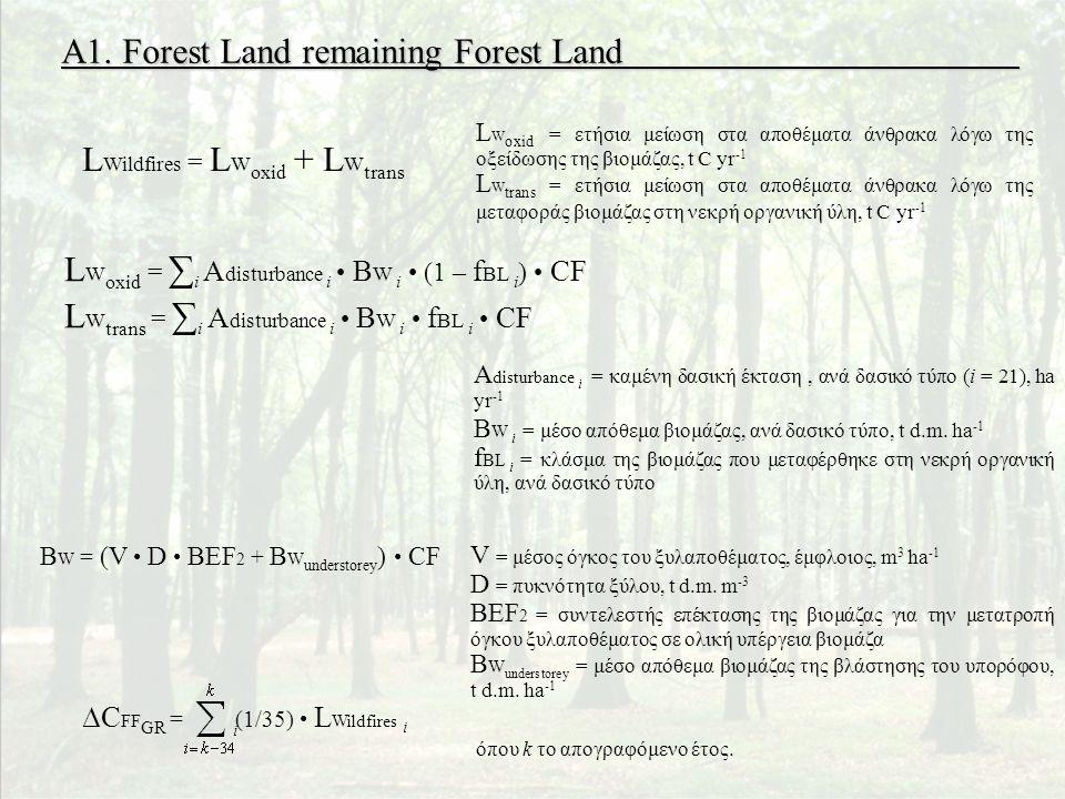 L Wildfires = L W oxid + L W trans L W oxid = ∑ i A disturbance i • B W i • (1 – f BL i ) • CF L W trans = ∑ i A disturbance i • B W i • f BL i • CF B W = (V • D • BEF 2 + B W understorey ) • CF A1.