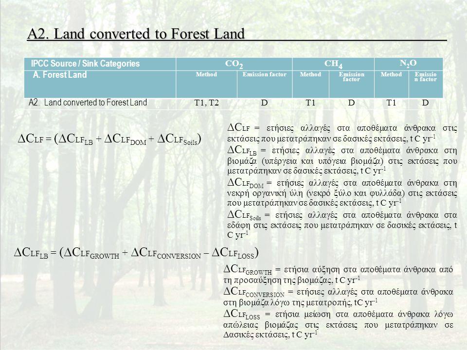 A2. Land converted to Forest Land ∆C LF = (∆C LF LB + ∆C LF DOM + ∆C LF Soils ) ∆C LF = ετήσιες αλλαγές στα αποθέματα άνθρακα στις εκτάσεις που μετατρ