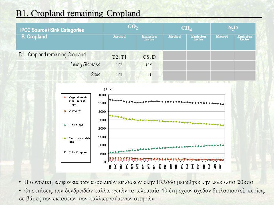 B1. Cropland remaining Cropland Areas of cropland in Greece since 1963 (fallow land excluded) • Η συνολική επιφάνεια των αγροτικών εκτάσεων στην Ελλάδ
