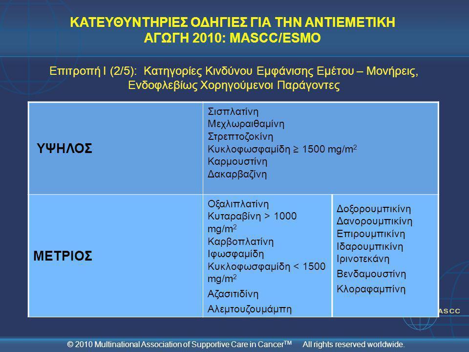 ΚΑΤΕΥΘΥΝΤΗΡΙΕΣ ΟΔΗΓΙΕΣ ΓΙΑ ΤΗΝ ΑΝΤΙΕΜΕΤΙΚΗ ΑΓΩΓΗ 2010: MASCC/ESMO ΥΨΗΛΟΣ Σισπλατίνη Μεχλωραιθαμίνη Στρεπτοζοκίνη Κυκλοφωσφαμίδη ≥ 1500 mg/m 2 Καρμουστ