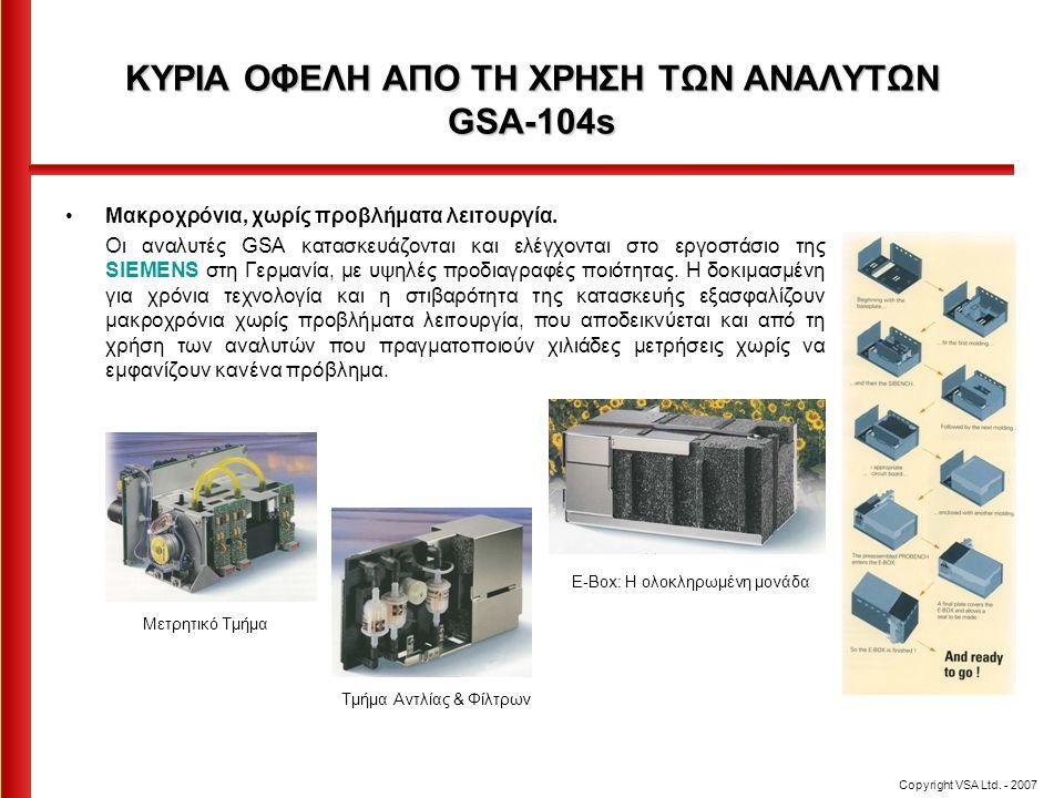ΚΥΡΙΑ ΟΦΕΛΗ ΑΠΟ ΤΗ ΧΡΗΣΗ ΤΩΝ ΑΝΑΛΥΤΩΝ GSA-104s •Μακροχρόνια, χωρίς προβλήματα λειτουργία. Οι αναλυτές GSA κατασκευάζονται και ελέγχονται στο εργοστάσι