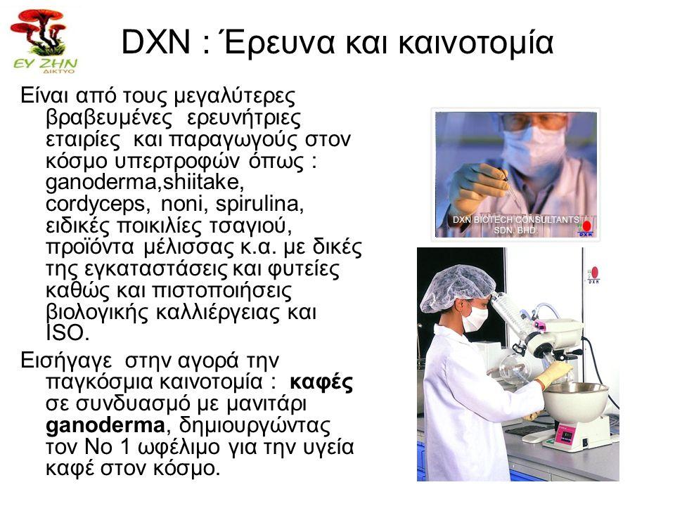 DXN : Έρευνα και καινοτομία Είναι από τους μεγαλύτερες βραβευμένες ερευνήτριες εταιρίες και παραγωγούς στον κόσμο υπερτροφών όπως : ganoderma,shiitake