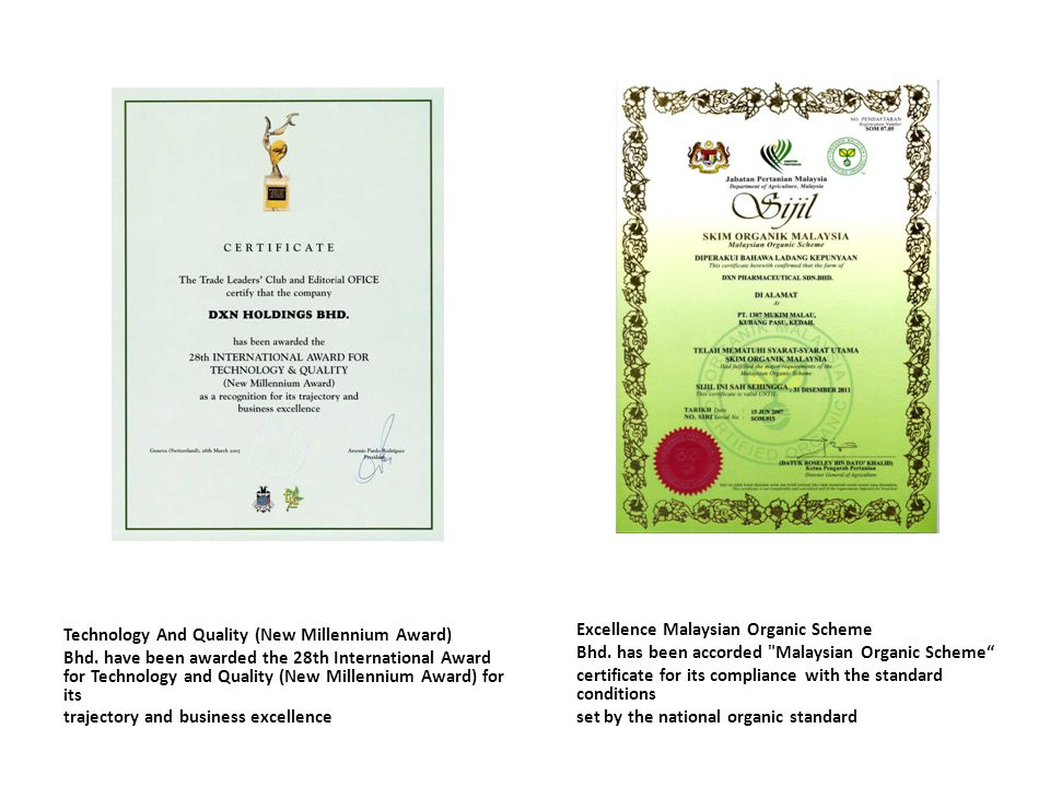 Technology And Quality (New Millennium Award) Bhd. have been awarded the 28th International Award for Technology and Quality (New Millennium Award) fo