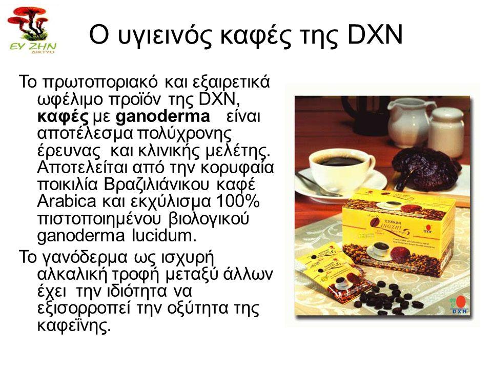 Ο υγιεινός καφές της DXN Το πρωτοποριακό και εξαιρετικά ωφέλιμο προϊόν της DXN, καφές με ganoderma είναι αποτέλεσμα πολύχρονης έρευνας και κλινικής με