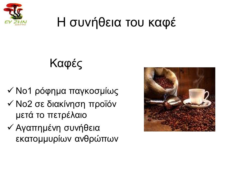 Η συνήθεια του καφέ Καφές  Νο1 ρόφημα παγκοσμίως  Νο2 σε διακίνηση προϊόν μετά το πετρέλαιο  Αγαπημένη συνήθεια εκατομμυρίων ανθρώπων