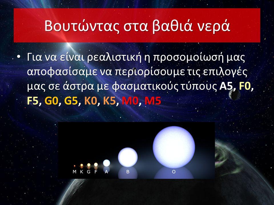 Βουτώντας στα βαθιά νερά • Για να είναι ρεαλιστική η προσομοίωσή μας αποφασίσαμε να περιορίσουμε τις επιλογές μας σε άστρα με φασματικούς τύπους Α5, F0, F5, G0, G5, K0, K5, M0, M5