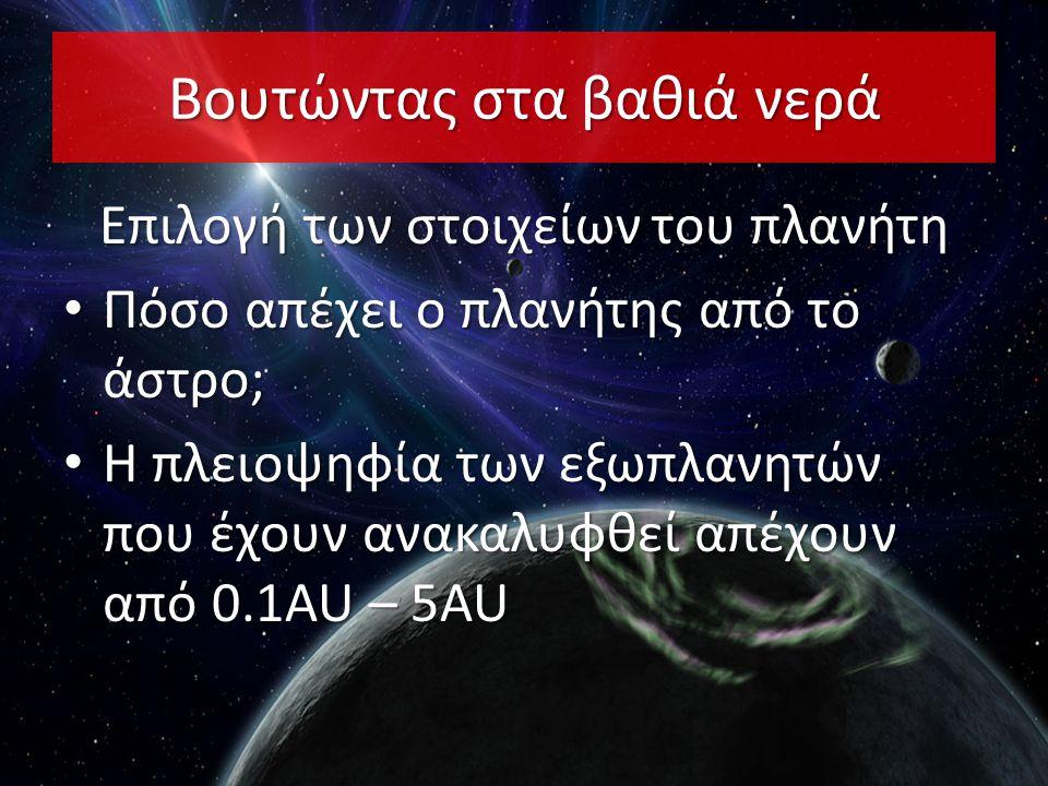 Βουτώντας στα βαθιά νερά Επιλογή των στοιχείων του πλανήτη • Πόσο απέχει ο πλανήτης από το άστρο; • Η πλειοψηφία των εξωπλανητών που έχουν ανακαλυφθεί απέχουν από 0.1AU – 5AU