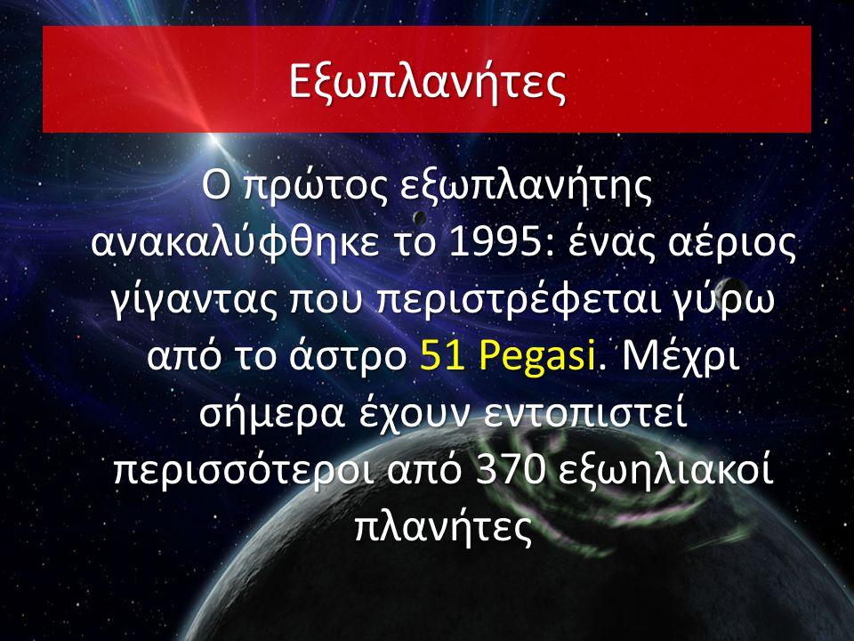 Εξωπλανήτες Ο πρώτος εξωπλανήτης ανακαλύφθηκε το 1995: ένας αέριος γίγαντας που περιστρέφεται γύρω από το άστρο 51 Pegasi. Μέχρι σήμερα έχουν εντοπιστ