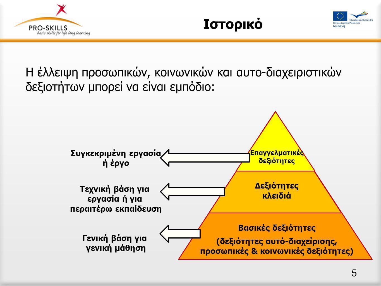 Ιστορικό Η έλλειψη προσωπικών, κοινωνικών και αυτο-διαχειριστικών δεξιοτήτων μπορεί να είναι εμπόδιο: Επαγγελματικές δεξιότητες Δεξιότητες κλειδιά Βασικές δεξιότητες (δεξιότητες αυτό-διαχείρισης, προσωπικές & κοινωνικές δεξιότητες) Συγκεκριμένη εργασία ή έργο Τεχνική βάση για εργασία ή για περαιτέρω εκπαίδευση Γενική βάση για γενική μάθηση 5