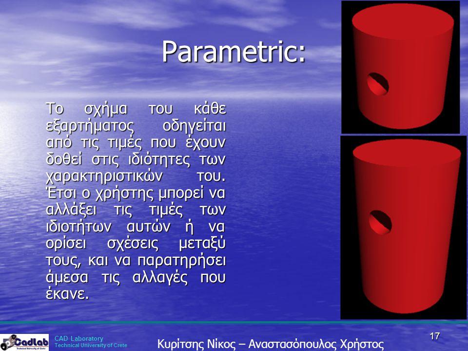 CAD Laboratory Technical University of Crete Κυρίτσης Νίκος – Αναστασόπουλος Χρήστος 17 Parametric: Το σχήμα του κάθε εξαρτήματος οδηγείται από τις τι