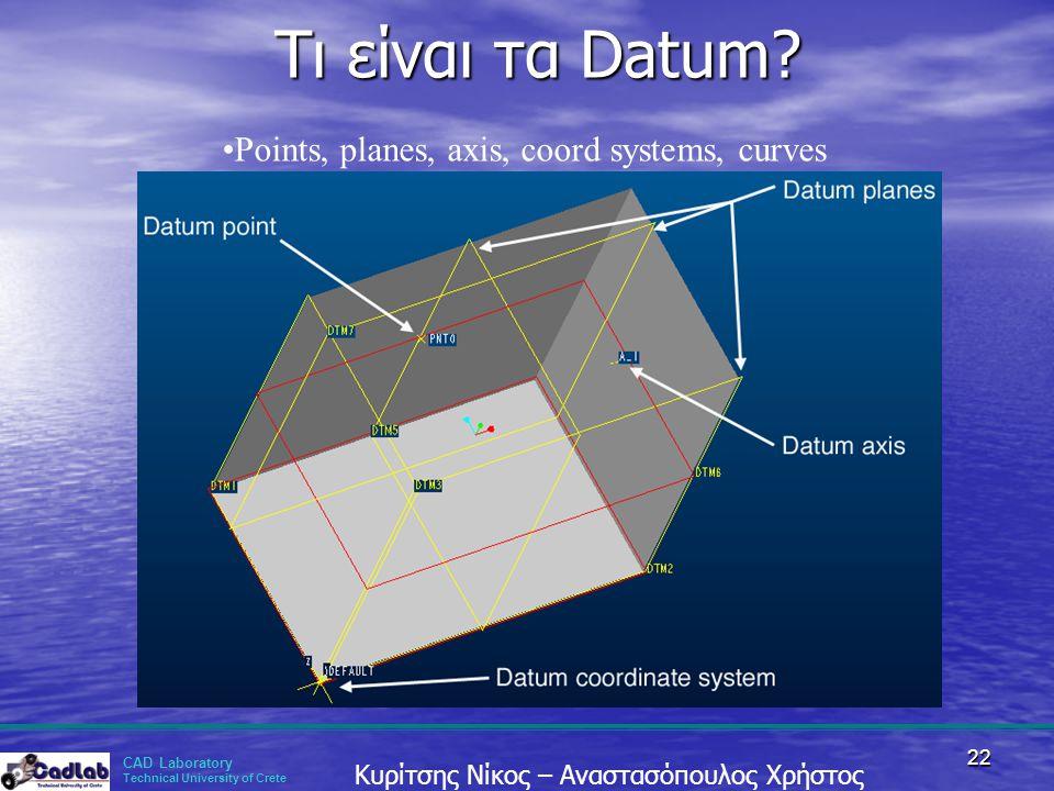 CAD Laboratory Technical University of Crete Κυρίτσης Νίκος – Αναστασόπουλος Χρήστος 22 Τι είναι τα Datum? Τι είναι τα Datum? •Points, planes, axis, c
