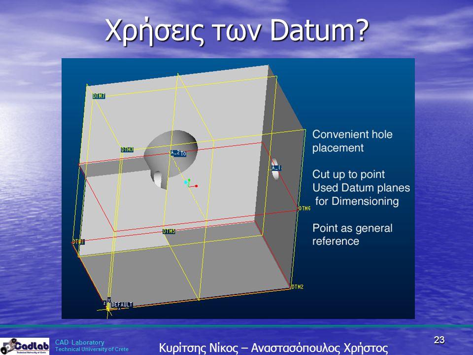 CAD Laboratory Technical University of Crete Κυρίτσης Νίκος – Αναστασόπουλος Χρήστος 23 Χρήσεις των Datum?