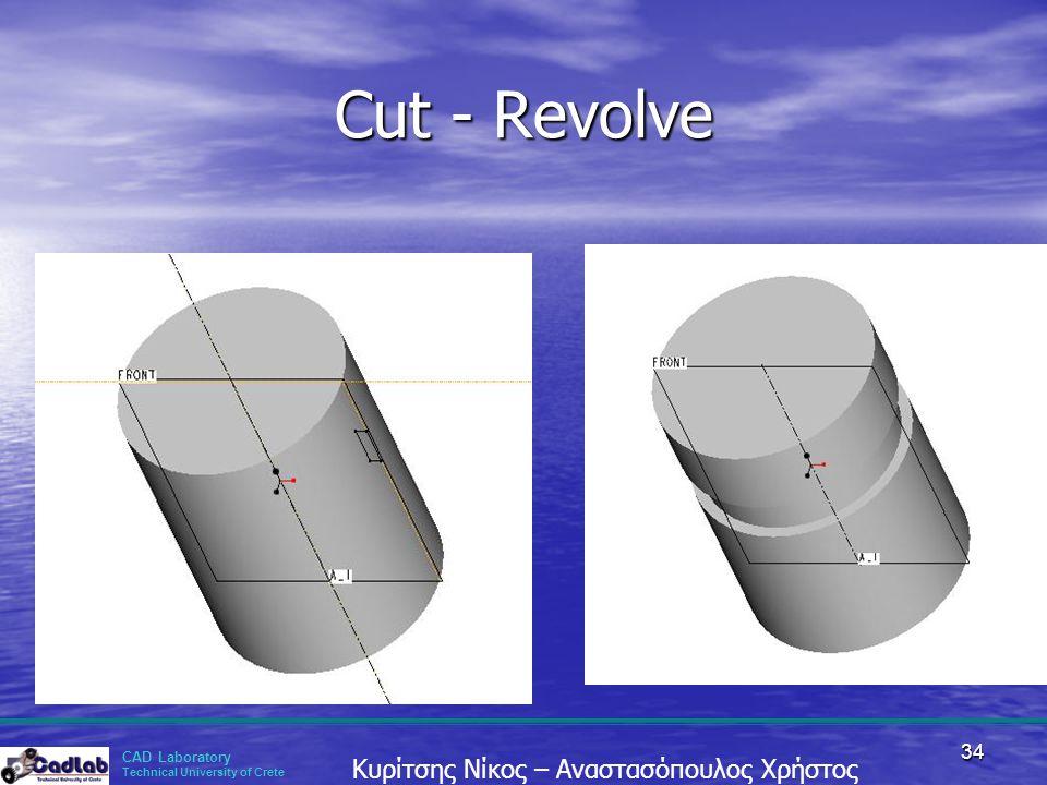 CAD Laboratory Technical University of Crete Κυρίτσης Νίκος – Αναστασόπουλος Χρήστος 34 Cut - Revolve