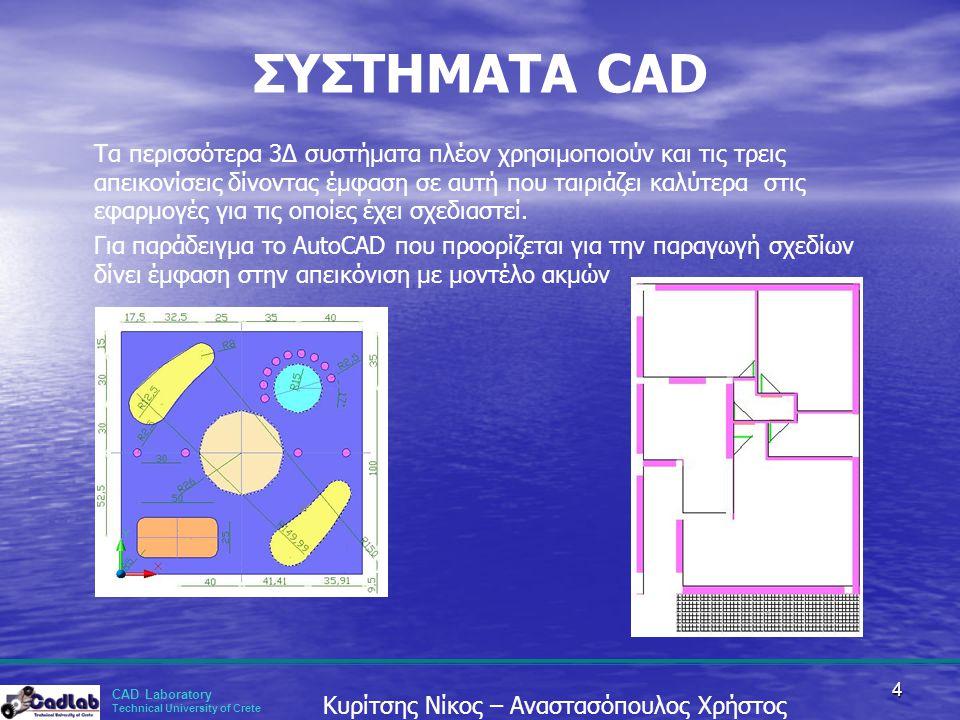 CAD Laboratory Technical University of Crete Κυρίτσης Νίκος – Αναστασόπουλος Χρήστος 4 ΣΥΣΤΗΜΑΤΑ CAD Τα περισσότερα 3Δ συστήματα πλέον χρησιμοποιούν κ