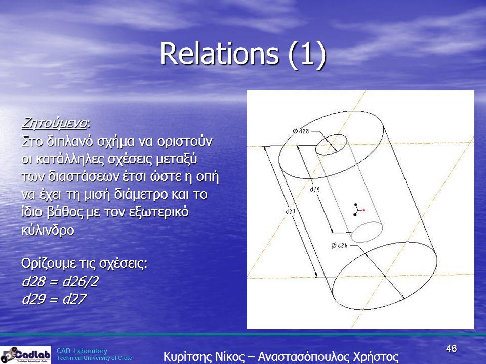 CAD Laboratory Technical University of Crete Κυρίτσης Νίκος – Αναστασόπουλος Χρήστος 46 Relations (1) Ζητούμενο: Στο διπλανό σχήμα να οριστούν οι κατά