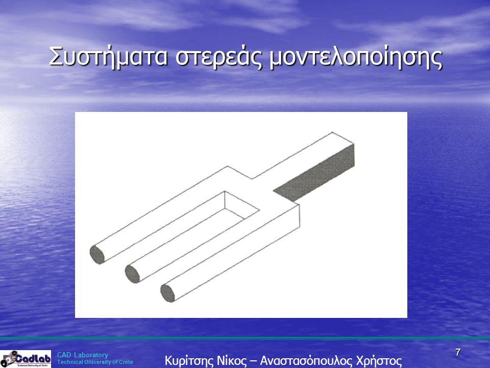CAD Laboratory Technical University of Crete Κυρίτσης Νίκος – Αναστασόπουλος Χρήστος 7 Συστήματα στερεάς μοντελοποίησης