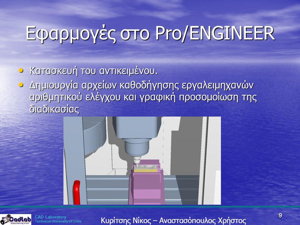 CAD Laboratory Technical University of Crete Κυρίτσης Νίκος – Αναστασόπουλος Χρήστος 9 Εφαρμογές στο Pro/ENGINEER • Κατασκευή του αντικειμένου. • Δημι