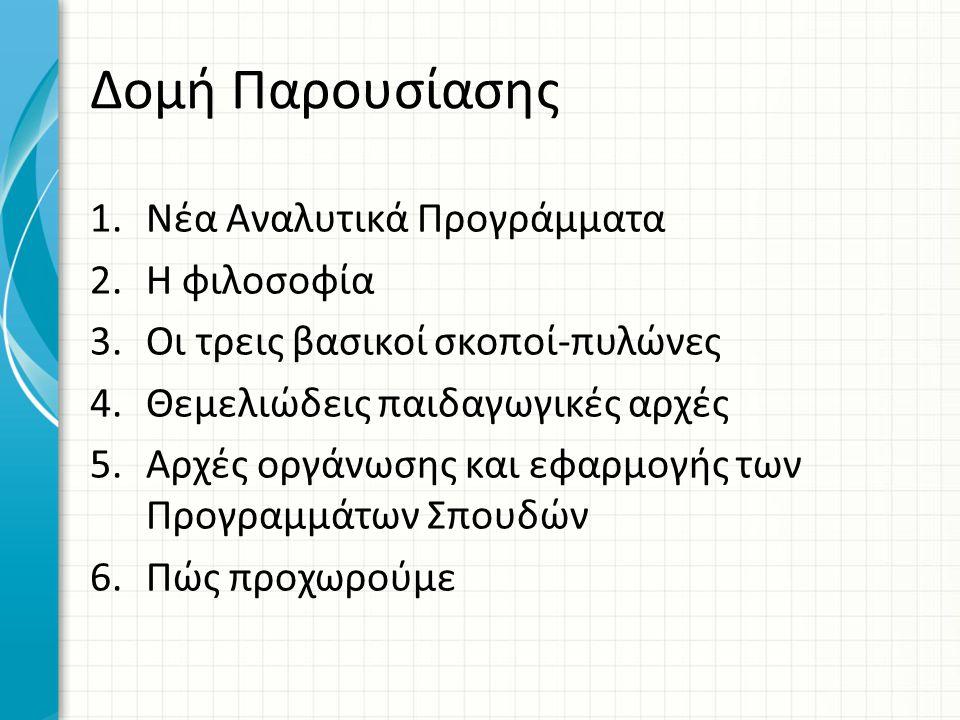 Δομή Παρουσίασης 1.Νέα Αναλυτικά Προγράμματα 2.Η φιλοσοφία 3.Οι τρεις βασικοί σκοποί-πυλώνες 4.Θεμελιώδεις παιδαγωγικές αρχές 5.Αρχές οργάνωσης και εφ