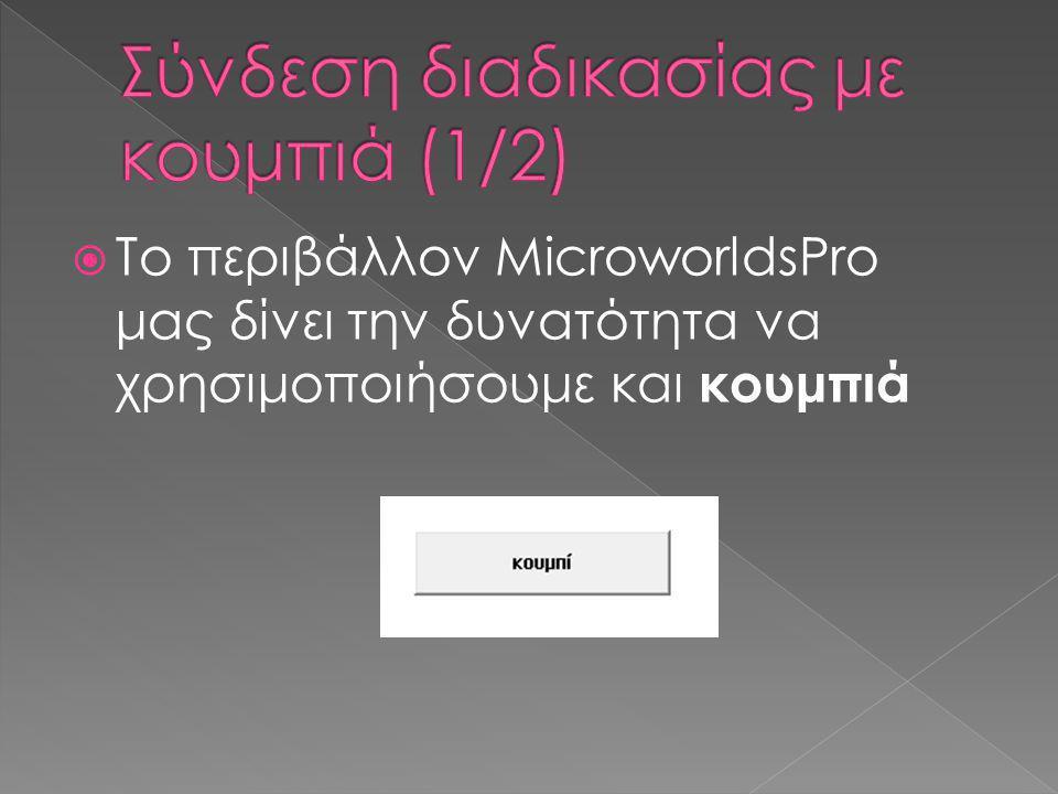  Το περιβάλλον MicroworldsPro μας δίνει την δυνατότητα να χρησιμοποιήσουμε και κουμπιά