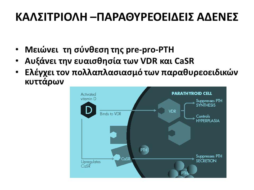 ΚΑΛΣΙΤΡΙΟΛΗ –ΠΑΡΑΘΥΡΕΟΕΙΔΕΙΣ ΑΔΕΝΕΣ • Μειώνει τη σύνθεση της pre-pro-PTH • Αυξάνει την ευαισθησία των VDR και CaSR • Ελέγχει τον πολλαπλασιασμό των παραθυρεοειδικών κυττάρων
