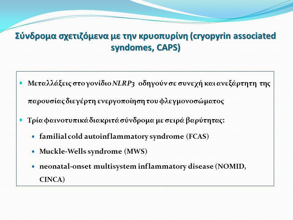 Σύνδρoμα σχετιζόμενα με την κρυοπυρίνη (cryopyrin associated syndomes, CAPS)  Μεταλλάξεις στο γονίδιο NLRP3 οδηγούν σε συνεχή και ανεξάρτητη της παρουσίας διεγέρτη ενεργοποίηση του φλεγμονοσώματος  Τρία φαινοτυπικά διακριτά σύνδρομα με σειρά βαρύτητας:  familial cold autoinflammatory syndrome (FCAS)  Muckle-Wells syndrome (MWS)  neonatal-onset multisystem inflammatory disease (NOMID, CINCA)