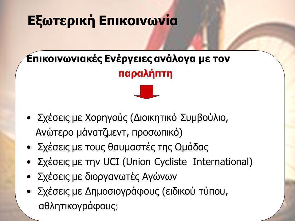 Τεχνικές Επικοινωνίας ΜΠΣ στο Μάρκετινγκ και Επικοινωνία με Νέες Τεχνολογίες Β΄ εξάμηνο 2004-2006, Εργασία «Πολιτική Επικοινωνίας», Εισηγήτρια: κα Μαρία Κωνσταντοπούλου Επαγγελματικές Ομάδες Ποδηλασίας Επικοινωνιακή Πολιτική Ιωάννα Αμαξοπούλου Γιάννης Ψαρέλης Εξωτερική Επικοινωνία Επικοινωνιακές Ενέργειες ανάλογα με τον παραλήπτη •Σχέσεις με Χορηγούς (Διοικητικό Συμβούλιο, Ανώτερο μάνατζμεντ, προσωπικό) •Σχέσεις με τους θαυμαστές της Ομάδας •Σχέσεις με την UCI (Union Cycliste International) •Σχέσεις με διοργανωτές Αγώνων •Σχέσεις με Δημοσιογράφους (ειδικού τύπου, αθλητικογράφους )