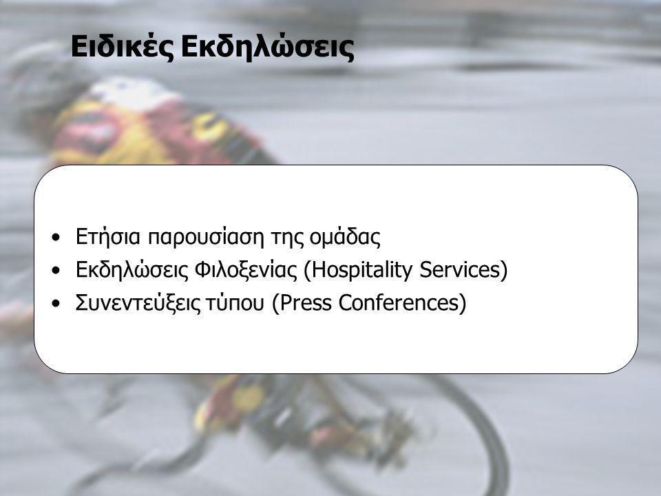 Τεχνικές Επικοινωνίας ΜΠΣ στο Μάρκετινγκ και Επικοινωνία με Νέες Τεχνολογίες Β΄ εξάμηνο 2004-2006, Εργασία «Πολιτική Επικοινωνίας», Εισηγήτρια: κα Μαρία Κωνσταντοπούλου Επαγγελματικές Ομάδες Ποδηλασίας Επικοινωνιακή Πολιτική Ιωάννα Αμαξοπούλου Γιάννης Ψαρέλης •Ετήσια παρουσίαση της ομάδας •Εκδηλώσεις Φιλοξενίας (Hospitality Services) •Συνεντεύξεις τύπου (Press Conferences) Ειδικές Εκδηλώσεις