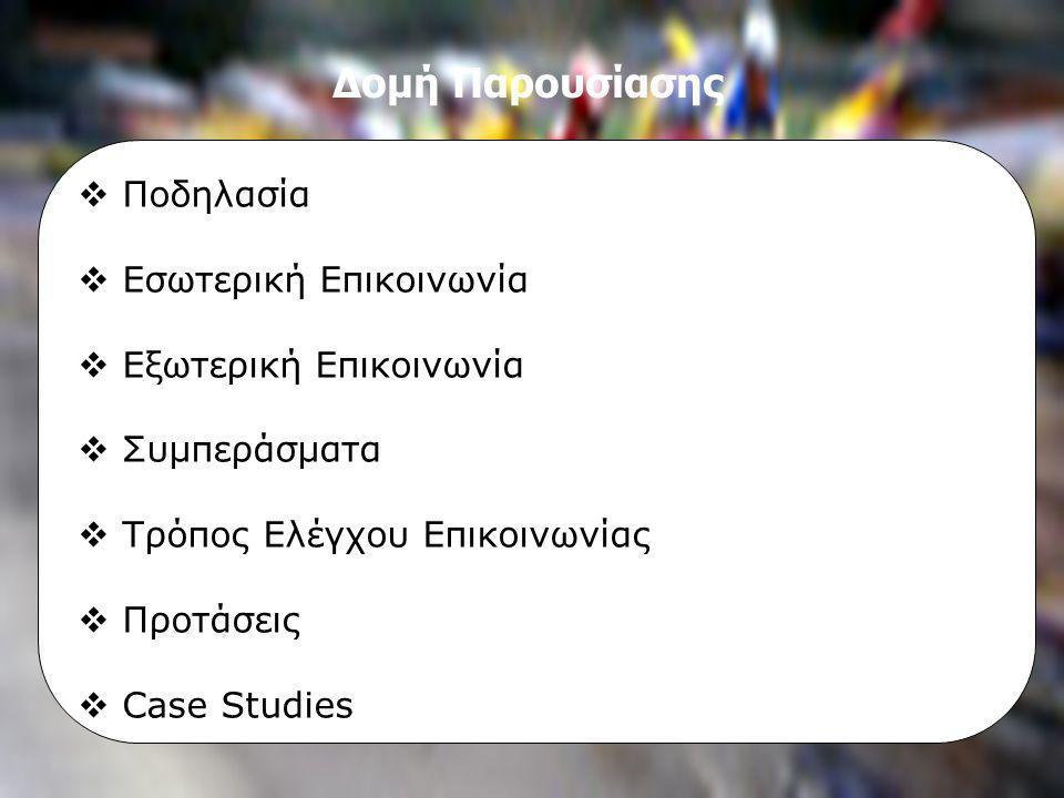 Τεχνικές Επικοινωνίας ΜΠΣ στο Μάρκετινγκ και Επικοινωνία με Νέες Τεχνολογίες Β΄ εξάμηνο 2004-2006, Εργασία «Πολιτική Επικοινωνίας», Εισηγήτρια: κα Μαρία Κωνσταντοπούλου Επαγγελματικές Ομάδες Ποδηλασίας Επικοινωνιακή Πολιτική Ιωάννα Αμαξοπούλου Γιάννης Ψαρέλης Προβολή στους Αγώνες •Εκδηλώσεις Φιλοξενίας (Hospitality Services) •Προωθητικά περίπτερα (Expo booth) •Συνεντεύξεις τύπου (Press Conferences)