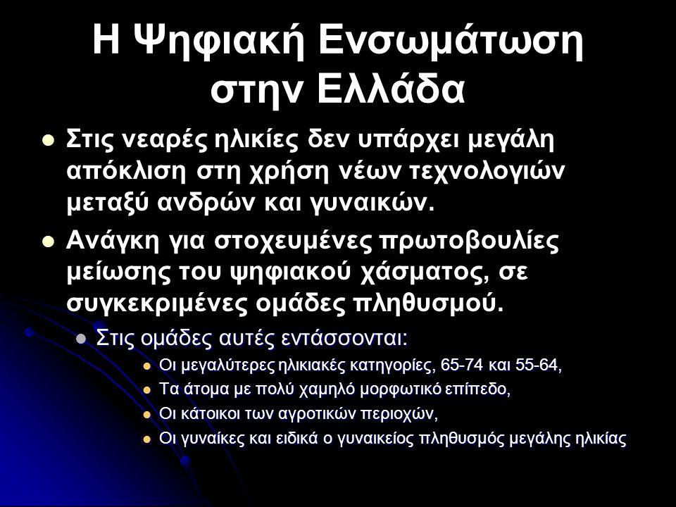 Η Ψηφιακή Ενσωμάτωση στην Ελλάδα   Στις νεαρές ηλικίες δεν υπάρχει μεγάλη απόκλιση στη χρήση νέων τεχνολογιών μεταξύ ανδρών και γυναικών.