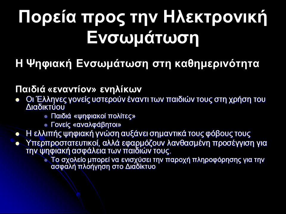 Πορεία προς την Ηλεκτρονική Ενσωμάτωση Η Ψηφιακή Ενσωμάτωση στη καθημερινότητα Παιδιά «εναντίον» ενηλίκων  Οι Έλληνες γονείς υστερούν έναντι των παιδιών τους στη χρήση του Διαδικτύου  Παιδιά «ψηφιακοί πολίτες»  Γονείς «αναλφάβητοι»  Η ελλιπής ψηφιακή γνώση αυξάνει σημαντικά τους φόβους τους  Υπερπροστατευτικοί, αλλά εφαρμόζουν λανθασμένη προσέγγιση για την ψηφιακή ασφάλεια των παιδιών τους.