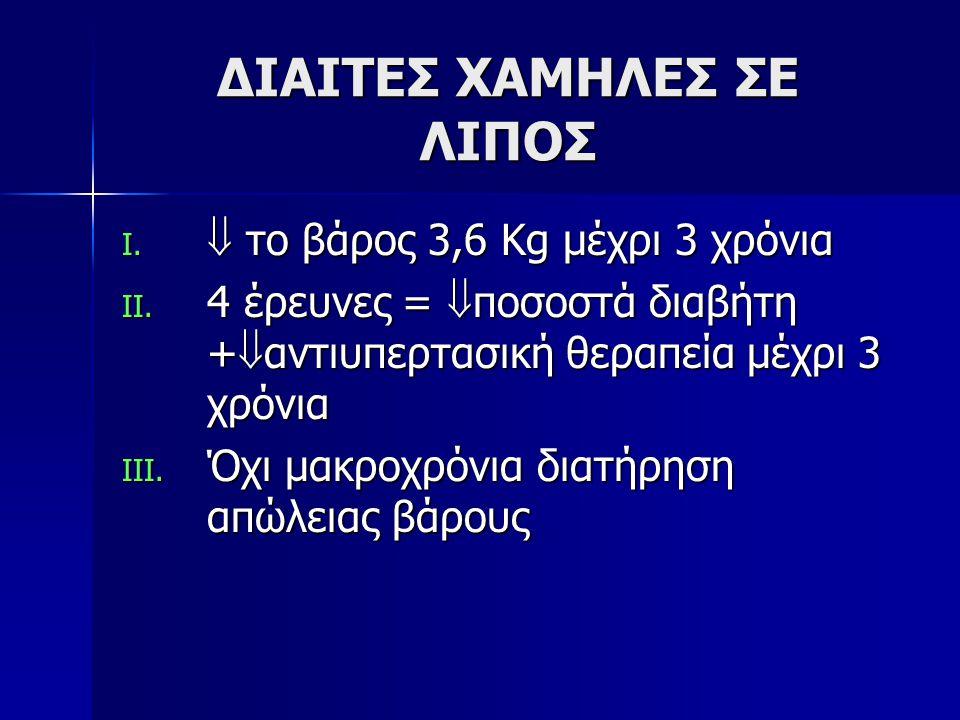ΔΙΑΙΤΕΣ ΧΑΜΗΛΕΣ ΣΕ ΛΙΠΟΣ I. το βάρος 3,6 Kg μέχρι 3 χρόνια II.