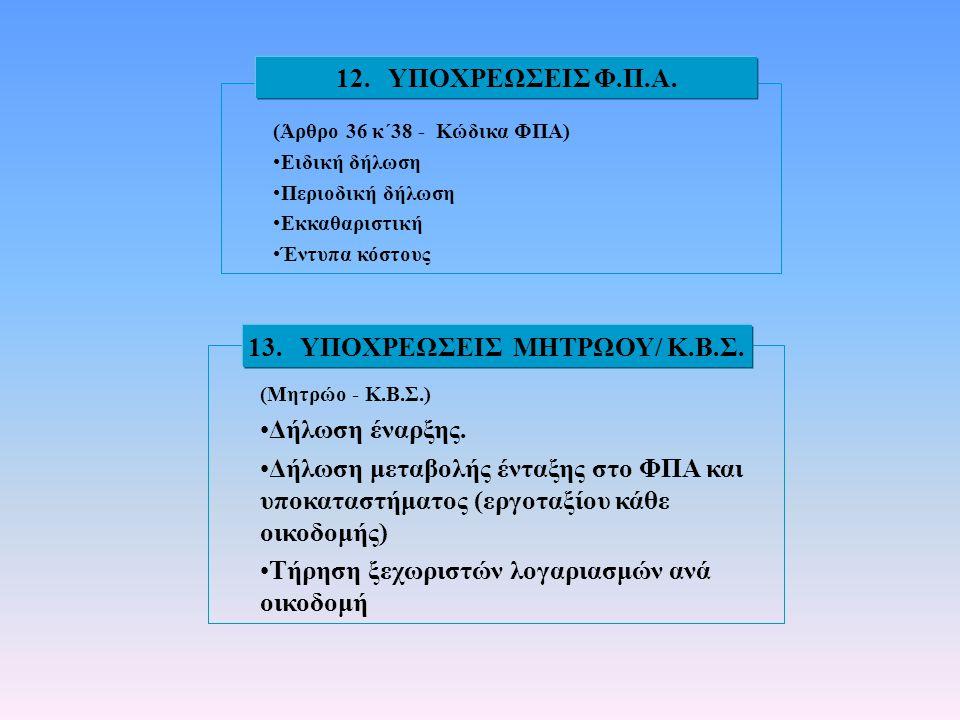 (Άρθρο 36 κ΄38 - Κώδικα ΦΠΑ) •Ειδική δήλωση •Περιοδική δήλωση •Εκκαθαριστική •Έντυπα κόστους 12. ΥΠΟΧΡΕΩΣΕΙΣ Φ.Π.Α. (Μητρώο - Κ.Β.Σ.) •Δήλωση έναρξης.