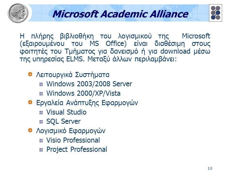 10 Microsoft Academic Alliance Λειτουργικά Συστήματα Windows 2003/2008 Server Windows 2000/XP/Vista Εργαλεία Ανάπτυξης Εφαρμογών Visual Studio SQL Ser