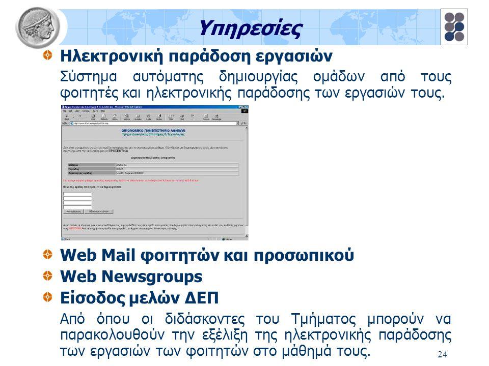 24 Υπηρεσίες Ηλεκτρονική παράδοση εργασιών Σύστημα αυτόματης δημιουργίας ομάδων από τους φοιτητές και ηλεκτρονικής παράδοσης των εργασιών τους. Web Ma