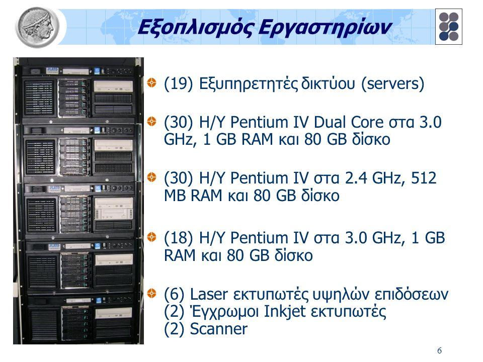 6 Εξοπλισμός Εργαστηρίων (19) Εξυπηρετητές δικτύου (servers) (30) Η/Υ Pentium IV Dual Core στα 3.0 GHz, 1 GB RAM και 80 GB δίσκο (30) Η/Υ Pentium IV σ