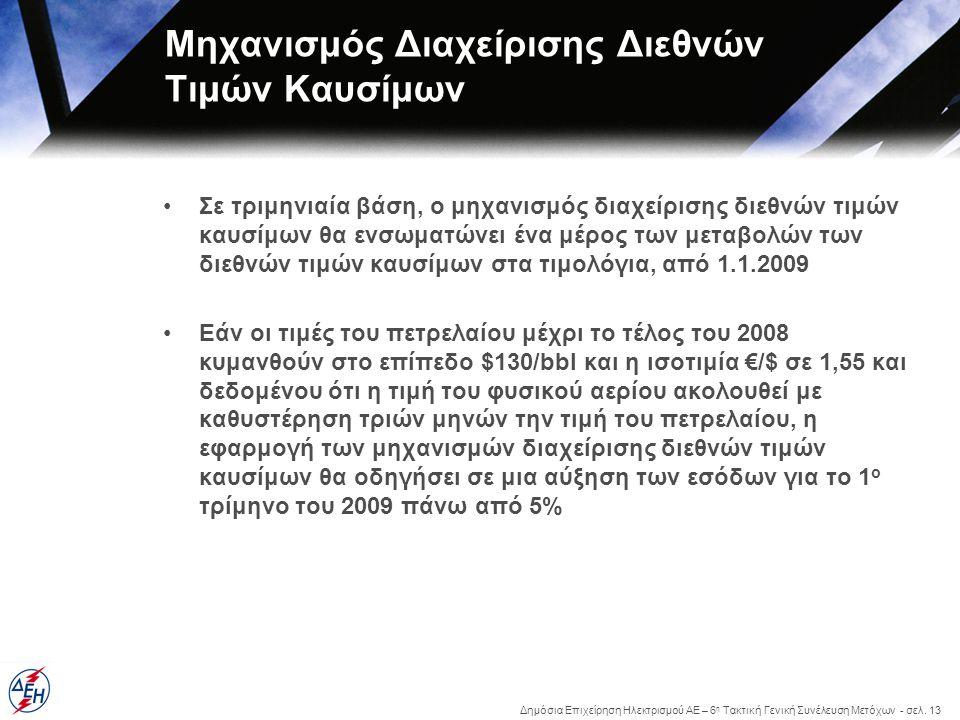 Δημόσια Επιχείρηση Ηλεκτρισμού ΑΕ – 6 η Τακτική Γενική Συνέλευση Μετόχων - σελ. 13 Μηχανισμός Διαχείρισης Διεθνών Τιμών Καυσίμων •Σε τριμηνιαία βάση,